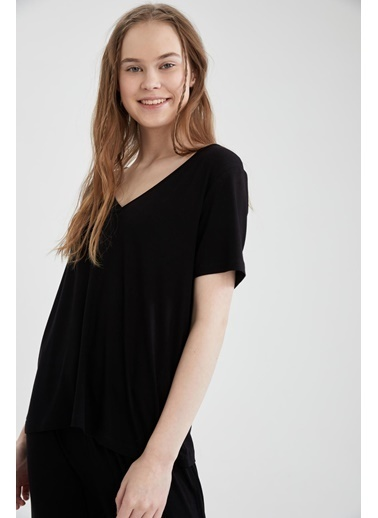 DeFacto Basic Kısa Kollu Relax Fit Pijama Takımı Siyah